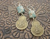 Quan Yin and Snake Skin Jasper Earrings by Christine's Jewelry Box on Etsy