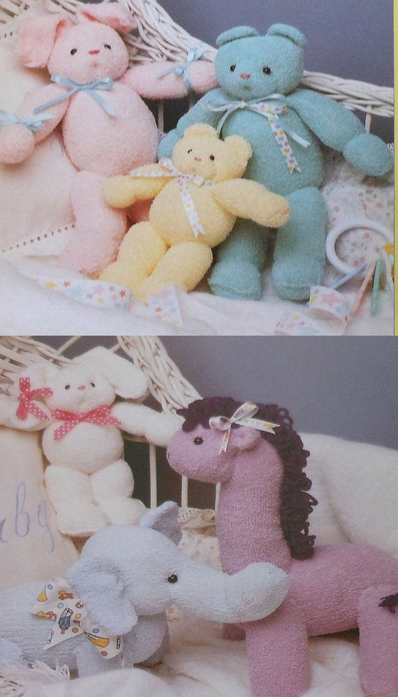 McCall's Creates Animal Babies Pattern Booklet bunny teddy bear elephant giraffe doll terry cloth animals