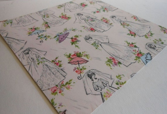 "Vintage Retro Bridal Wedding Shower Wrapping Paper One piece 30""x 20"" 1960s"