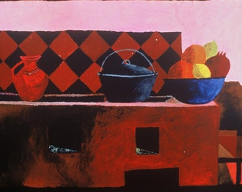 Mexican Kitchen Still Life with Red Tiles