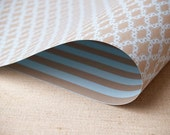 2 Sheets of Double-Sided Gift Wrap - Lattice Scroll Pattern