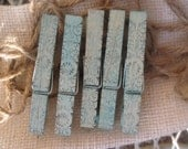 Hand painted and stamped turquoise blue clothespins set of five with mini burlap bag and twine