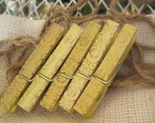 Hand painted and stamped yellow clothespins set of five with mini cream colored burlap bag by naomievelyn on etsy