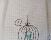 Birdcage with Aqua Blue Bird White Tea Towel dish towel