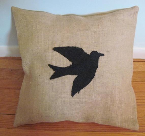 Animal Silhouette Pillow Covers : Burlap Bird Silhouette Pillow Cover 20x20 by by naomievelyn