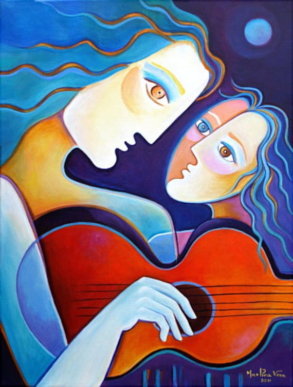 Original Abstract  Modern Acrylic Painting on canvas THE GUITAR MUSE  Marlina Vera Fine Art Gallery  Sale