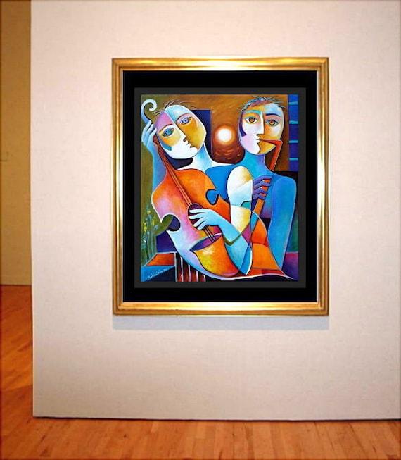 Original Painting Cubism Abstract Acrylic on canvas Night Musicians  Marlina Vera Modern Fine Art Gallery Sale