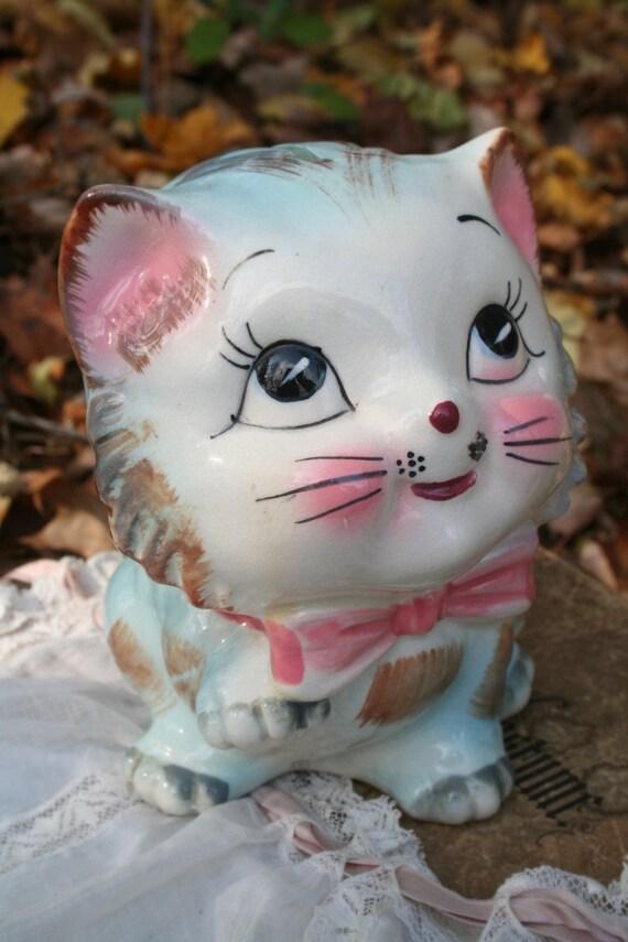 vintage ceramic bank KITTY CAT retro kitsch / harajuku sweet KAWAII hand painted / japan
