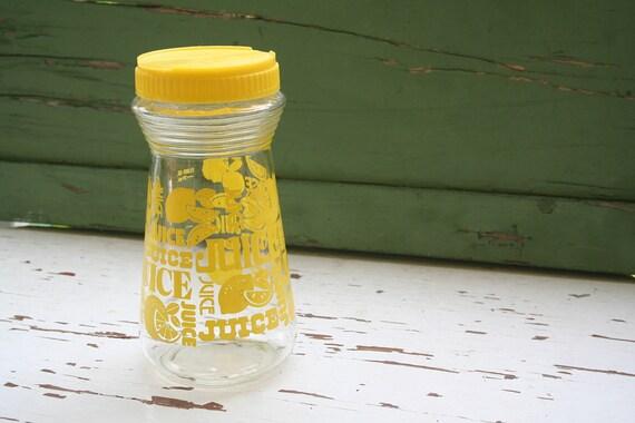vintage JUICE DECANTER 1970's glass / sunshine yellow LEMONADE retro kitchen
