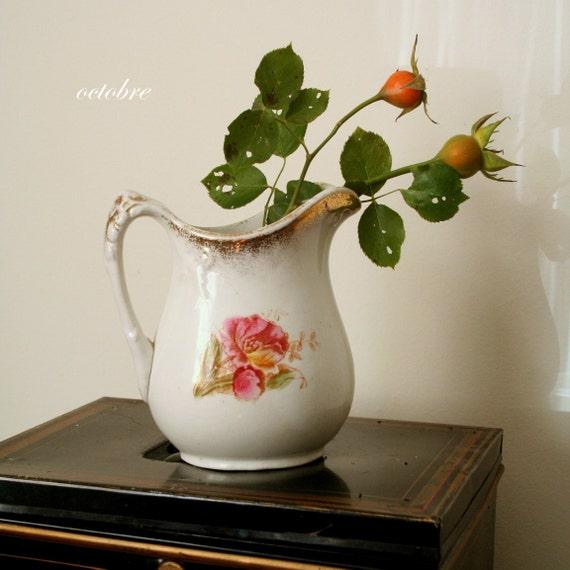 antique pitcher / ironstone transferware PINK poppies SHABBY CHIC flowers