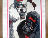 Retro handmade greeting card - 50's French Poodle paint-by-number