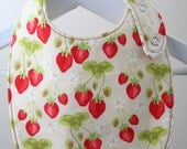 Reversible Baby Bib in Strawberry Fields