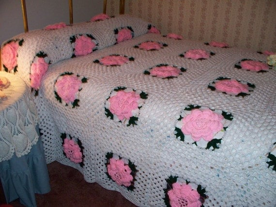 Rose Granny Square Bedspread Coverlet Crocheted