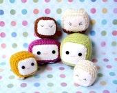 Amigurumi toy pattern - Tofu Baby - 2 Crochet Amigurumi doll patterns / Magnet