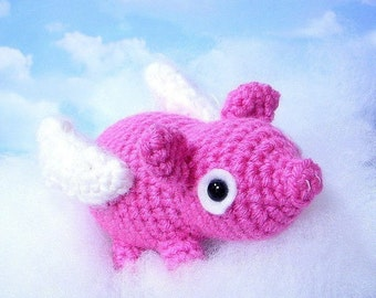 Amigurumi Flying pig / piglet - Crochet Amigurumi animal toy pattern / mobile