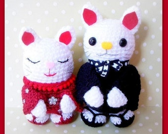 Amigurumi patterns - Japanese Maneki Neko / Lucky Cat couple - 2 Crochet Tutorial PDF