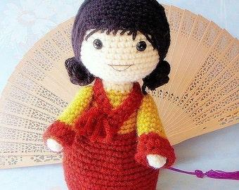 Mina -  Crochet Amigurumi girl doll pattern / PDF
