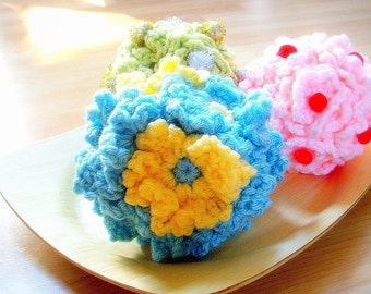 Crochet Decorative Flower Balls - 3 Crochet flowers patterns / PDF