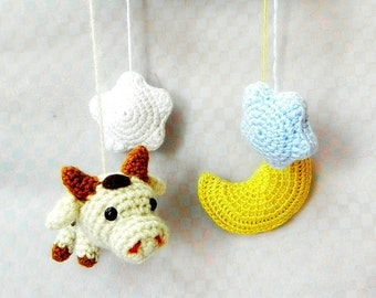 Amigurumi toy pattern - Cow N Moon - Crochet amigurumi Mobile tutorial PDF