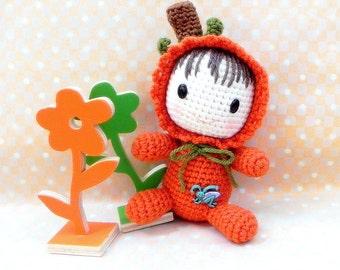 Amigurumi doll pattern - Pumpkin / Madarin Baby - Crochet doll PDF