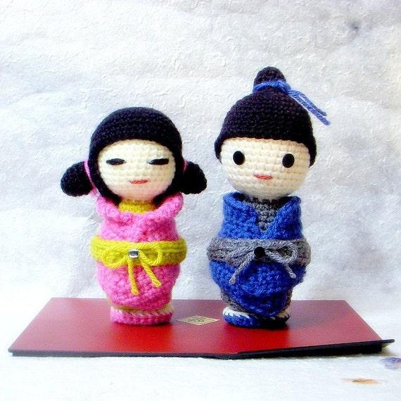 Bb Dolls Crochet Pattern : Amigurumi pattern Little Sister N Brother Crochet Kokeshi