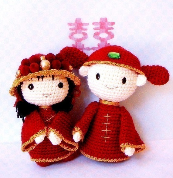 Amigurumi pattern - Chinese Wedding - 2 Crochet Amigurumi doll tutorial PDF