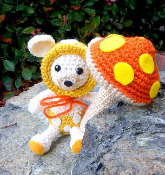 Amigurumi patterns - Baby Mushroom Bear and His Big Mushroom - 2 Crochet Amigurumi animal patterns included /PDF