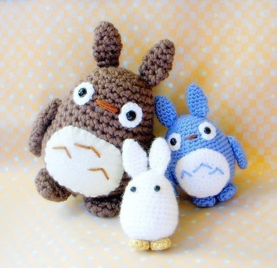 Totoro Friends Amigurumi pattern - 3 crochet amigurumi monster doll patterns / PDF
