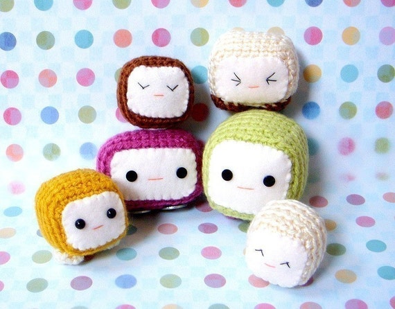 Amigurumi toy pattern - Tofu Baby - 2 Crochet Amigurumi doll patterns / Magnet