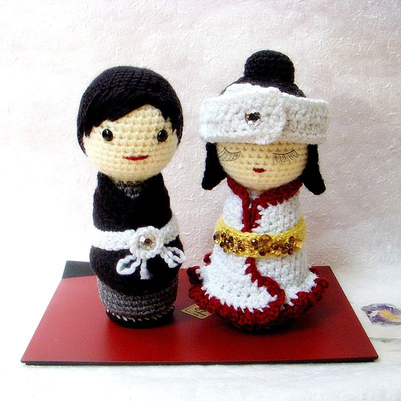 Kokeshi Doll Knitting Pattern : Amigurumi patterns Japanese Wedding 2 Crochet Amigurumi
