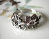 Dogwood Flower Ring Sterling Silver Handmade Jewelry