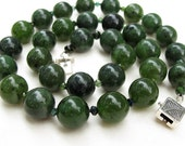 Forest Green Jade Tourmaline Classic Necklace Sterling Silver Hand Knotted