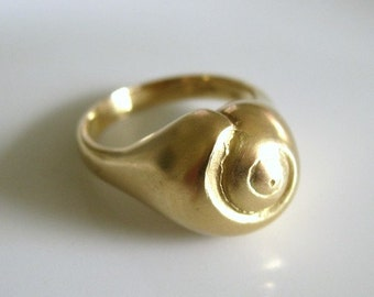 Gold Shell Ring Small 18k Hatteras Snail