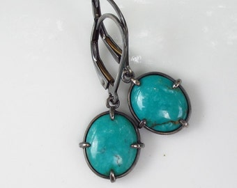 Oval Cabochon Turquoise Earrings