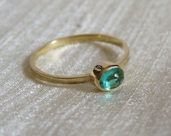 Green Tourmaline 18k Gold Skinny Ring
