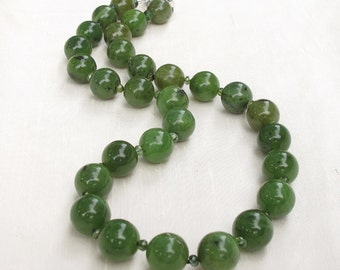 Olive Green Jade Tourmaline Hand Knotted Necklace Sterling Clasp 12MM