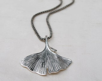 Ginkgo Leaf Pendant  Sterling Silver