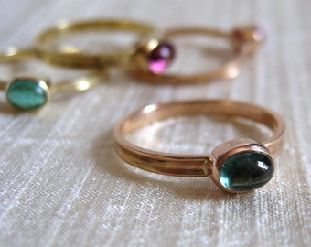 Green Tourmaline 18k Pink Gold Skinny Ring