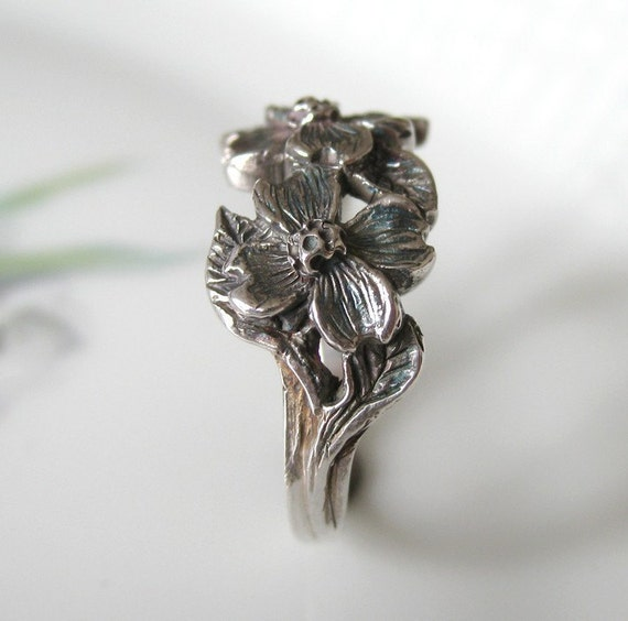 Dogwood Flower Ring Hand Finished Sterling Silver