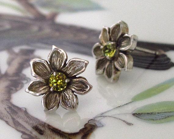 RESERVED for TED Flower Earrings Mali Garnet Sterling Silver Petite