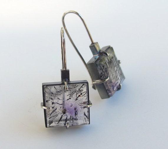 Rutilated Quartz Amethyst Modern Art Earrings Oxidized Silver
