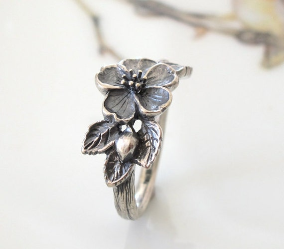 Rose Heirloom Flower Ring Handmade Sterling Silver