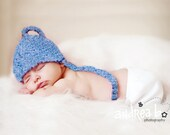 SALE - Blue with Lavender NEWBORN Baby Elf Hat - NEW COLOR - Photographer's Prop - FREE SHIPPING