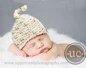 SALE 20 PERCENT OFF Cream with Flecks of Color NEWBORN Baby Top Knot Hat - Perfect for Photographers Prop - FREE SHIPPING