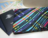 Travel Document Holder, Passport Wallet, Kindle Travel Case, Holiday Organizer in the Aqua and Purple Modern Check Print