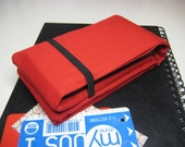 iPhone Wallet, Smart Phone Wallet, Slim Card Wallet, Flat Money Wallet in Plain, Bright, Red