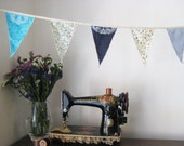 Handmade Blue, Floral, Stripe and Spot Fabric Flag Bunting made from Recycled and Reclaimed Fabrics - One of a Kind with Embroidered Doilies