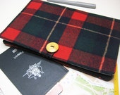 Large Travel Document Wallet, Passport Wallet, Travel Ticket Wallet, Kindle Reader Travel Pouch in the Red and Black Tartan