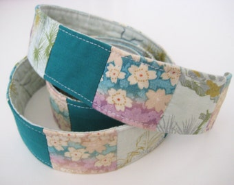Japanese Print Belt, Patchwork Tie Belt in Green, Repurposed and Recycled Mixed Fabric, One of a Kind, Size Small