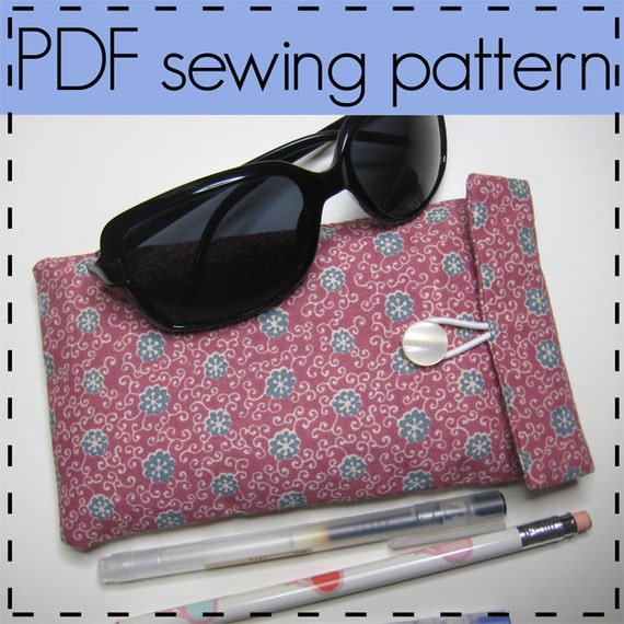 Eye Glass Case, Padded Glasses Case, Pencil Case, Gadget Pouch Sewing Pattern - Easy, Beginners Pattern